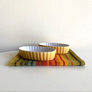 Pair/2 yellow fluted ceramic baking/serving dishes